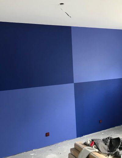 Peinture murs en damier